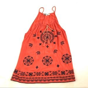 Laffaire Boho Tunic Tank Top Orange Black  Large